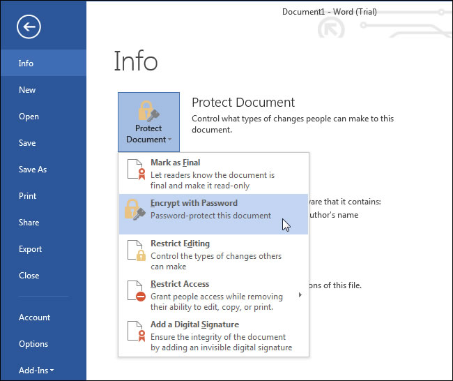 unlock a password protected word document